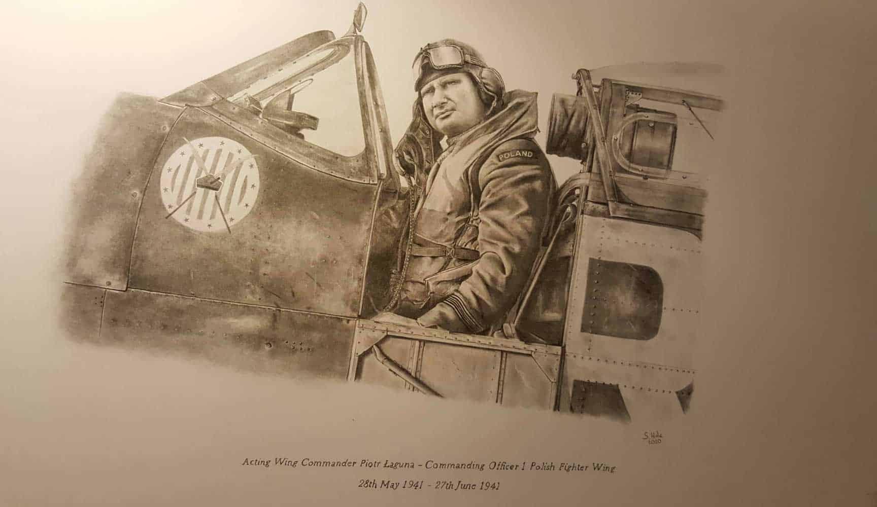 Laguna sketch of him sitting in Spitfire cockpit